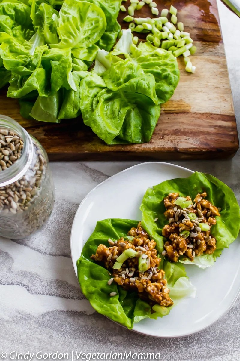 two vegetarian lettuce wraps on a plate