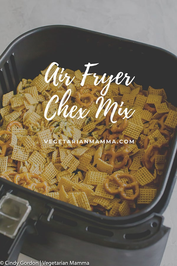 Air Fryer Chex Mix is a quick and easy way to prepare your chex mix. Simply mix ingredients together, cook in air fryer and in 16 minutes you'll have delicious air fryer chex mix. #airfryer #airfryerchex