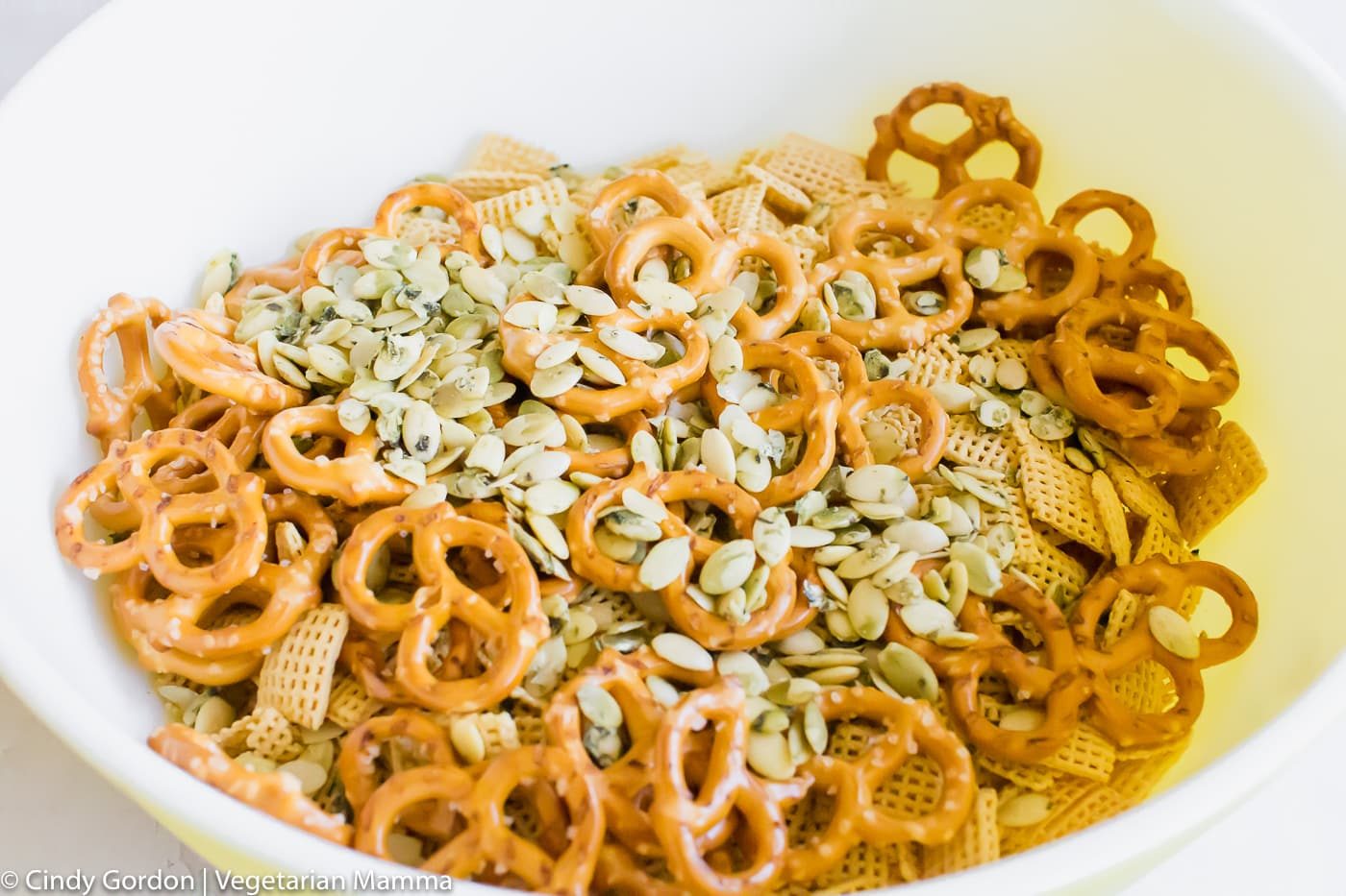 Air Fryer Chex Mix Ingredients in bowl
