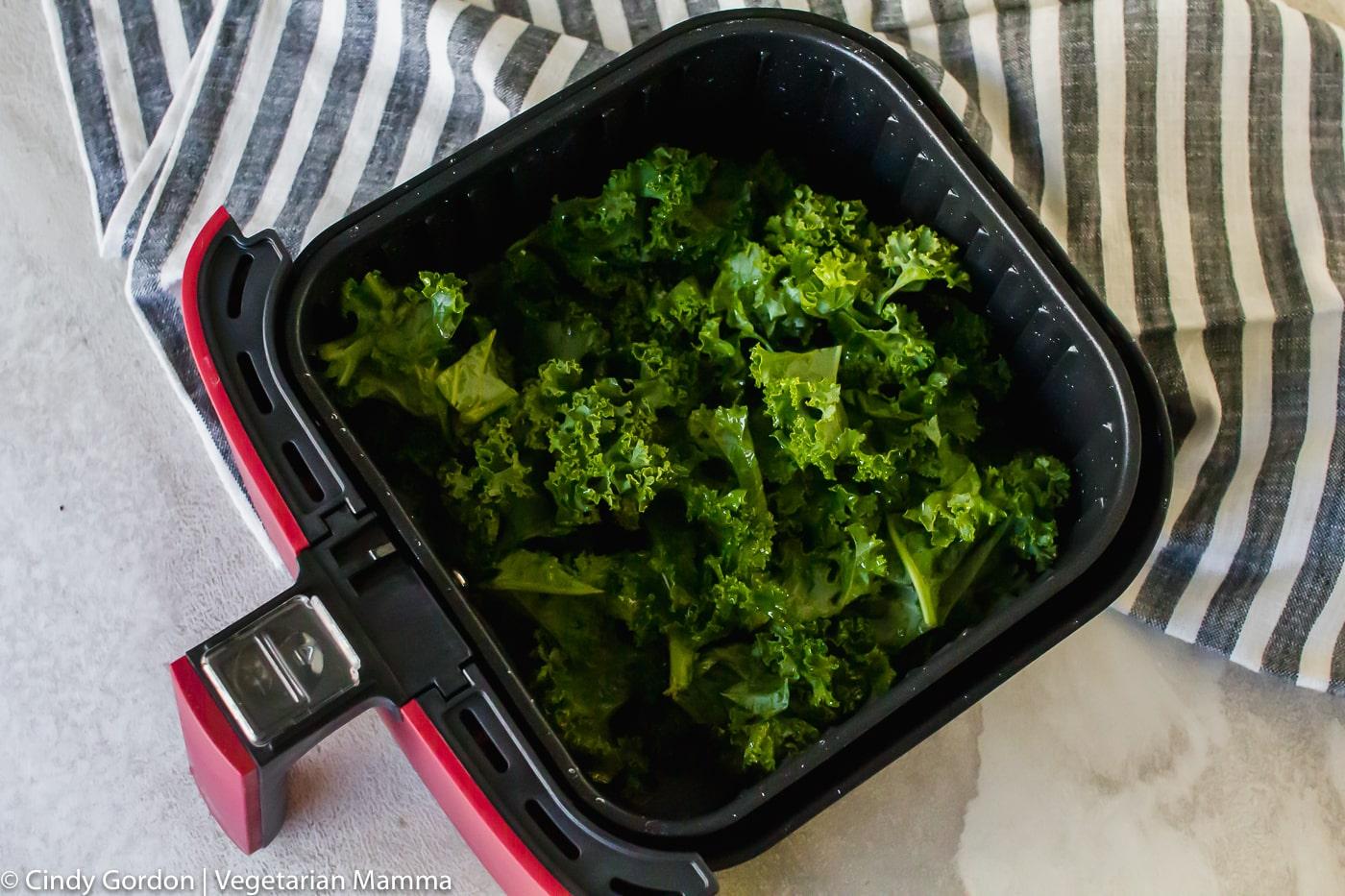 air fryer kale chips in the air fryer basket