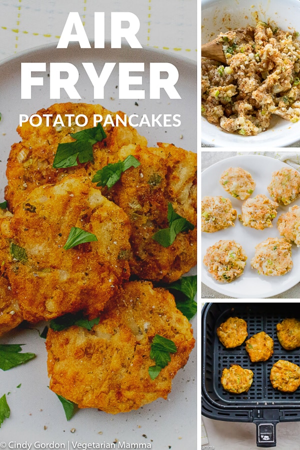 These Air Fryer Potato Pancakes are crispy, yet tender and will satisfy everyone's tastebuds. This potato pancakes recipe can be served as a main side or side dish. #airfryerrecipes #potatopancakes