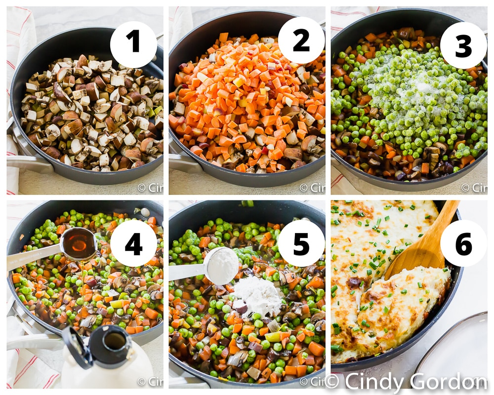 collage of images showing how to make vegan shepherd's pie