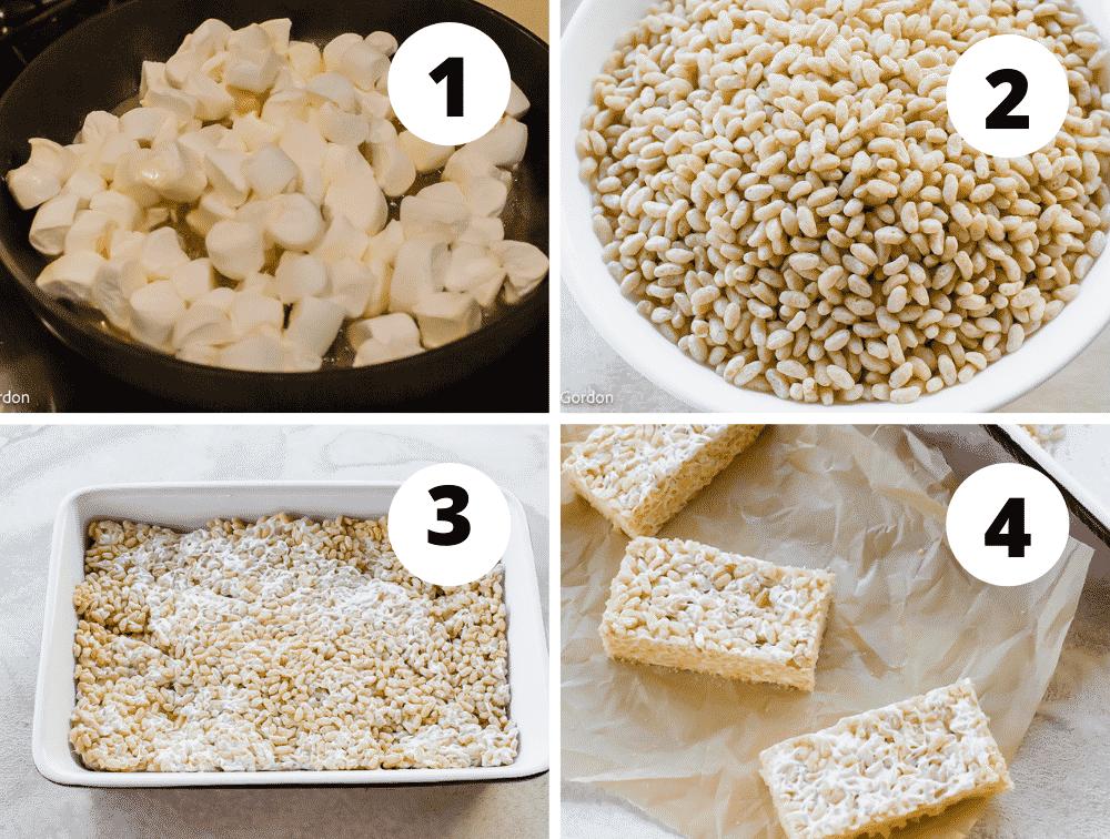 Collage of steps to make vegan rice crispy treats