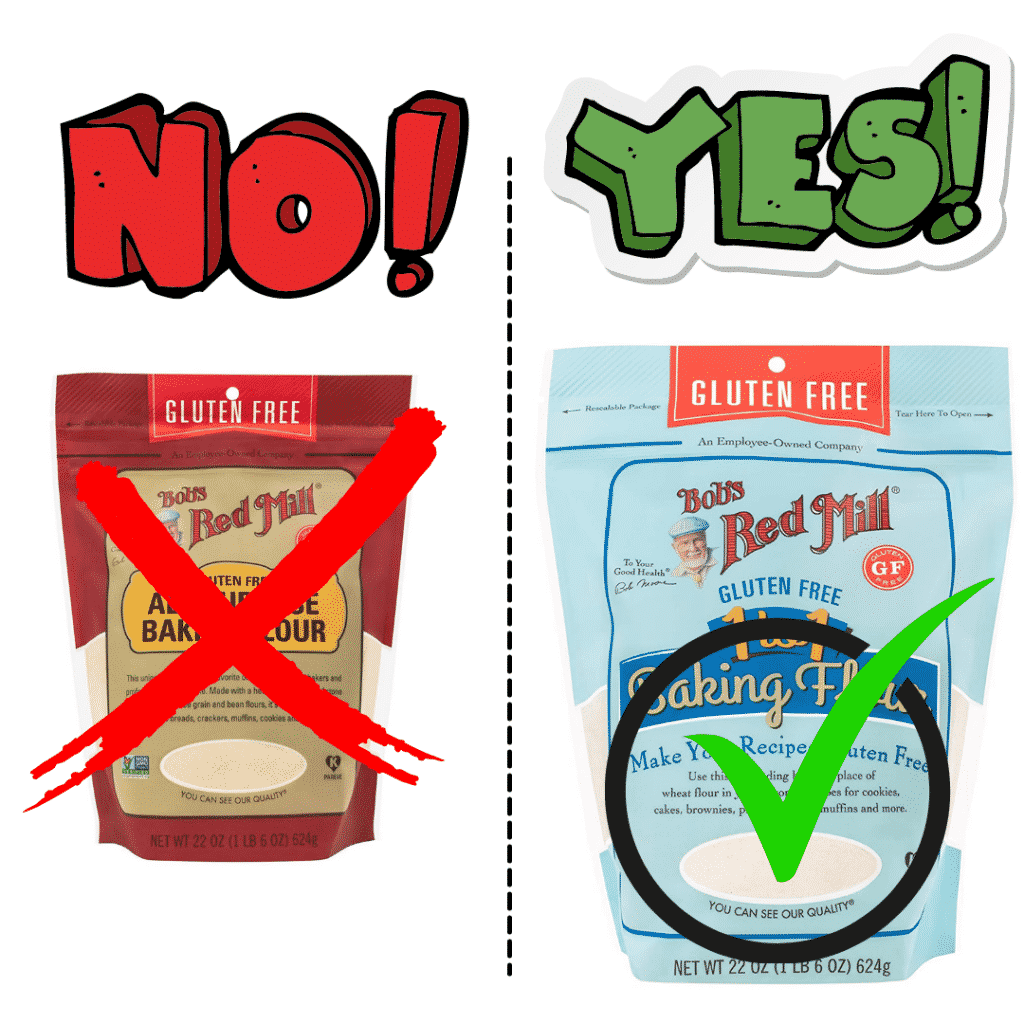 images of bobs red mill gluten free flour bags red and blue. blue bag has green check and red bag has red check