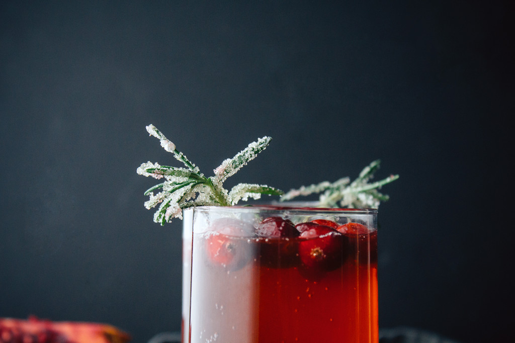 Pomegranate Cranberry Rum Punch With Candied Rosemary
