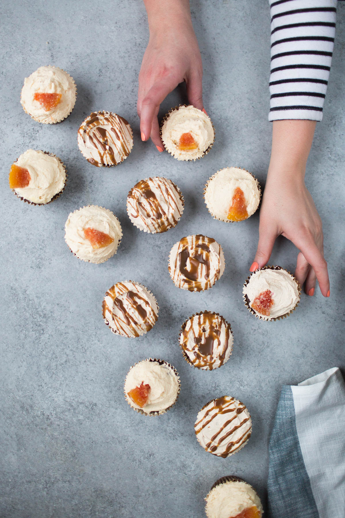 Vegan Chocolate Grapefruit and Dulce de Leche Cupcakes