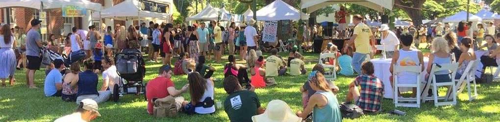festivalgoers at Honolulu Hale civig grounds - booths, sun, grass