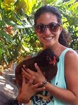 Christina Culianos holding chicken