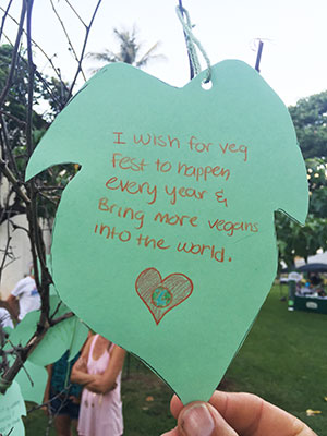 """Blessing Tree leaf with """"I wish for VegFest to happen every year & bring many more vegans into the world."""""""