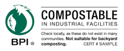 Compostable in Industrial Facilities label