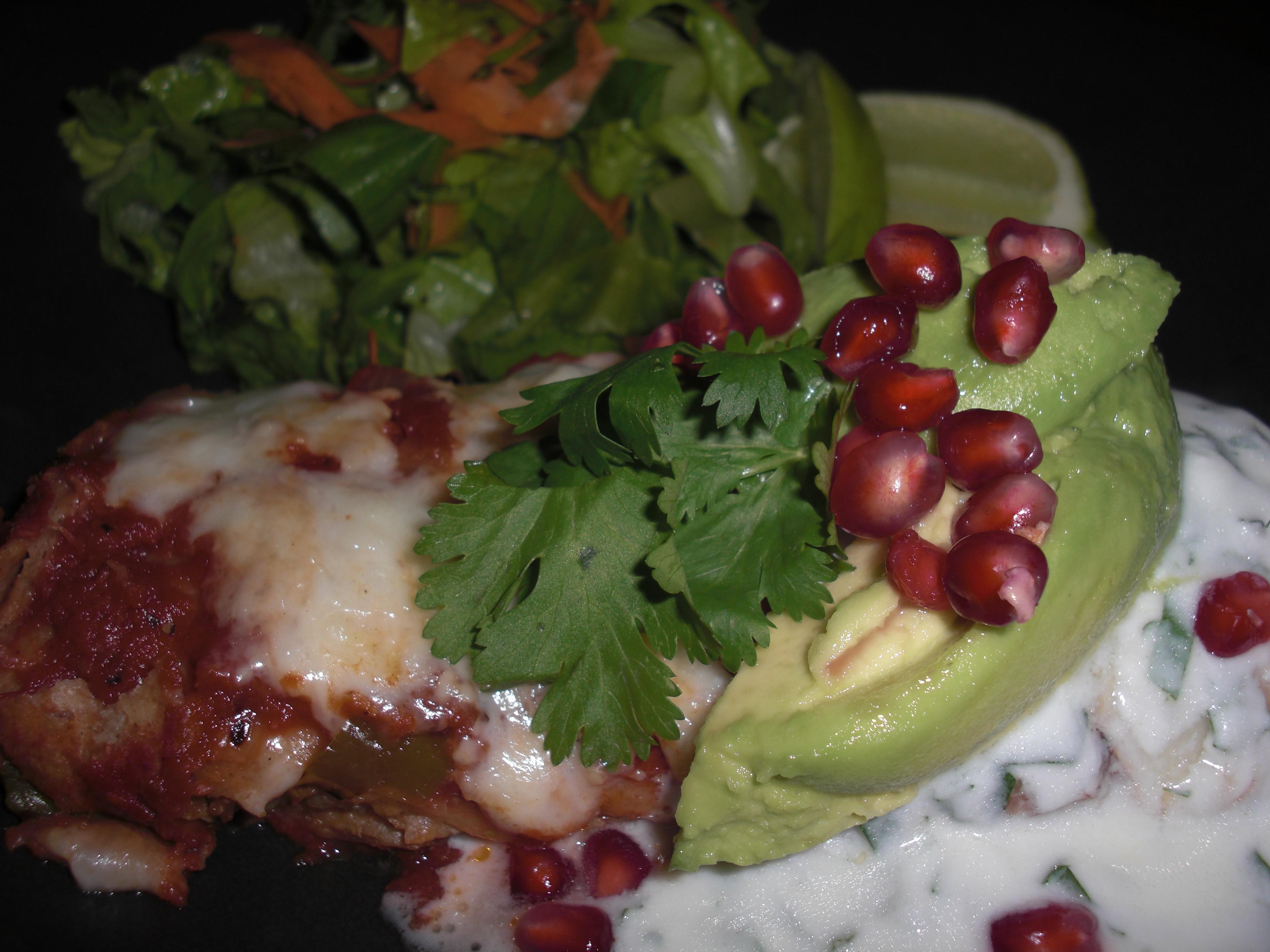 Soy Chorizo Enchilada toppings, close-up
