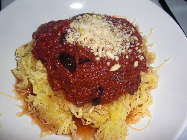 Spaghetti Squash with Red Wine, olive sauce