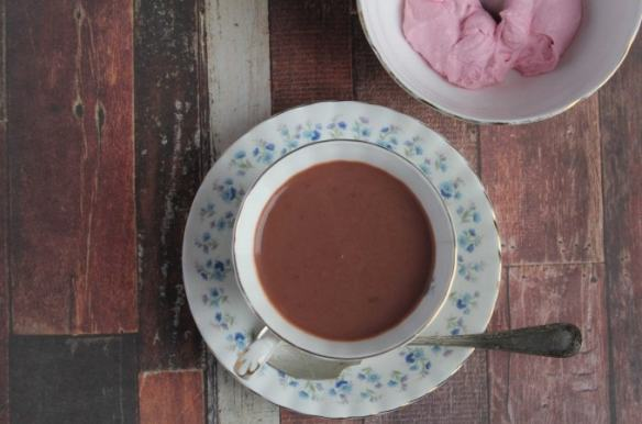 Red Velvet Beet Hot Chocolate with Beet and Vanilla Whipped Cream