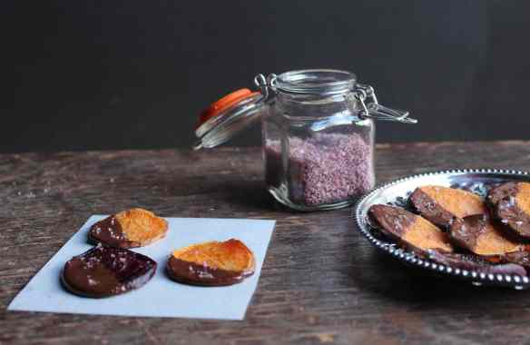 Chocolate Covered Beets and Sweet Potatoes with Lavender Beet Salt
