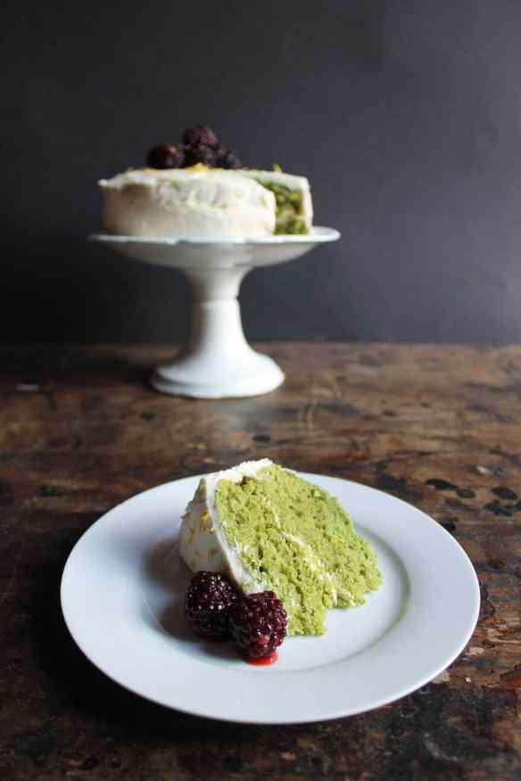 Lemon and Stinging Nettle Cake with Lemon Icing and Blackberries | Veggie Desserts Blog