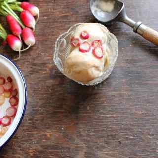Vegan Cinnamon Ice Cream with Maple Roasted Radishes | Veggie Desserts