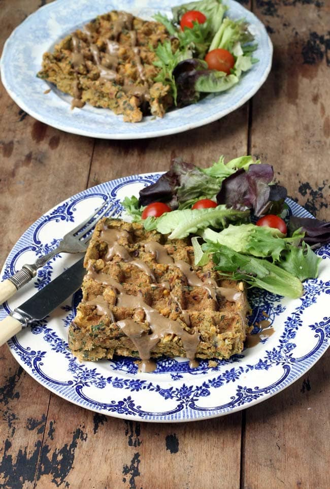 Falafel Waffles! You can waffle falafels. All that crispiness, without the oil. A soft, flavoursome, spiced falafel that's nice and big . Vegan.   Veggie Desserts Blog