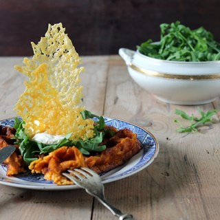 Sweet Potato Waffles with Cheese Shards