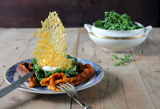 Cheddar and Jalapeno Sweet Potato Waffles with Cheddar Cheese Shards | Veggie Desserts Blog