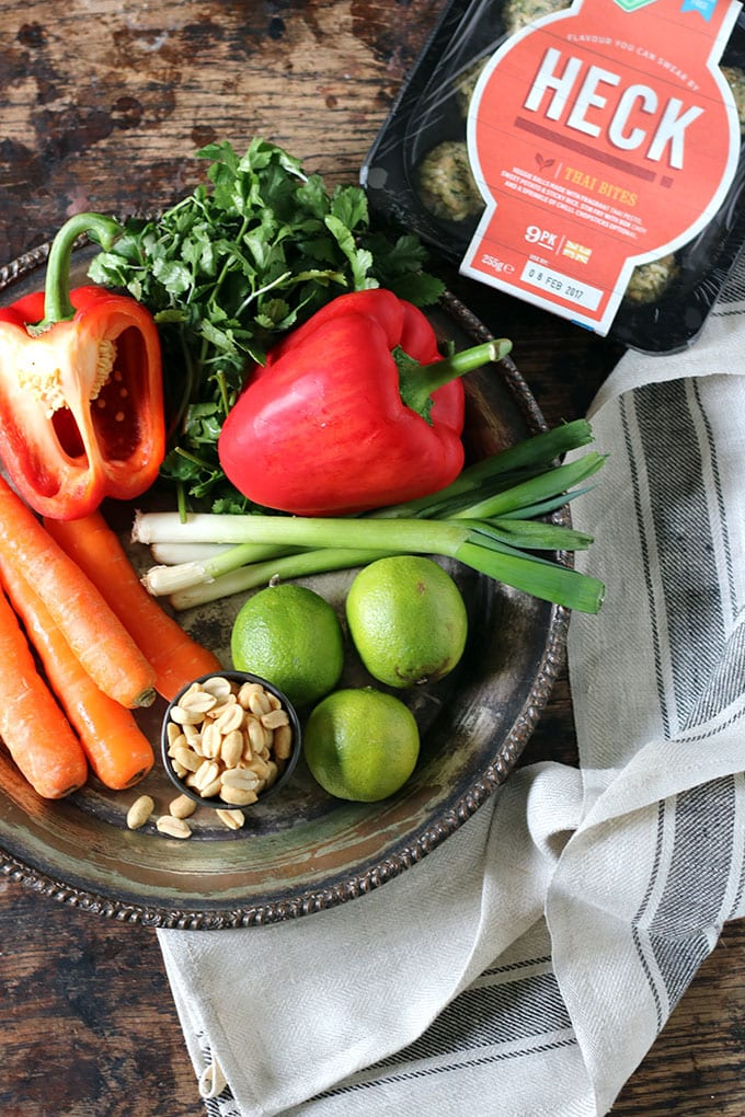 Vegan Noodle Bowl with Peanut Sauce | Heck Thai Bites | Veggie Desserts Blog