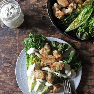 Vegan Caesar Salad with Grilled Lettuce and Herby Croutons | Veggie Desserts Blog