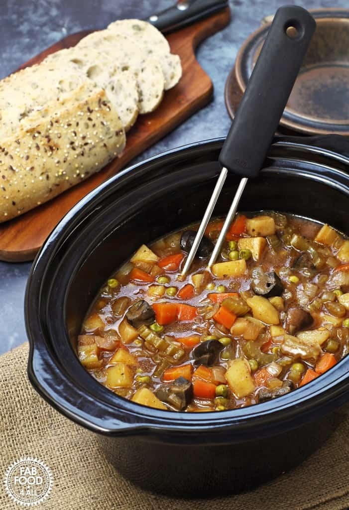 Easy Slow Cooker Vegan Stew - tangy & delicious! Fab Food 4 All