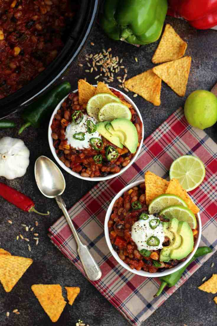 The Best Slow Cooker Vegan Chili • Happy Kitchen