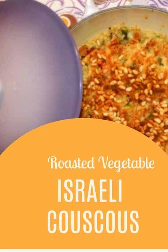 This light, healthy dish is packed with flavor and veggies. Pearled couscous comes together with a crispy topping and toasted pine nuts. #roastedvegetables #israelicouscous #vegetarianrecipes