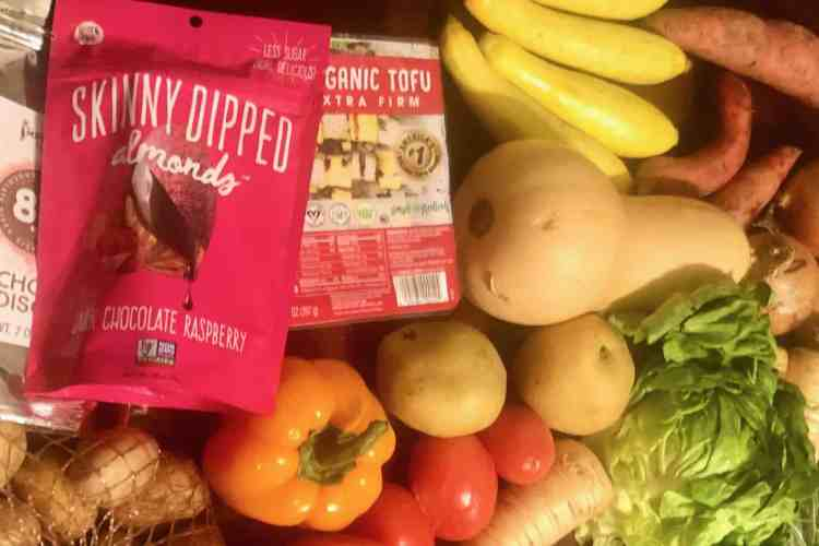 grocery delivery from imperfect foods - vegetables and other items on a table