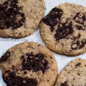 Oat Flour Crack Cookies with Chocolate Chunks and Made with Sweetened Condensed Coconut Milk - Vegan and Gluten Free - by Veggie Lexi