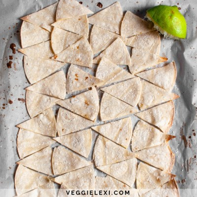 Crispy Oil Free Lime Tortilla Chips - by Veggie Lexi