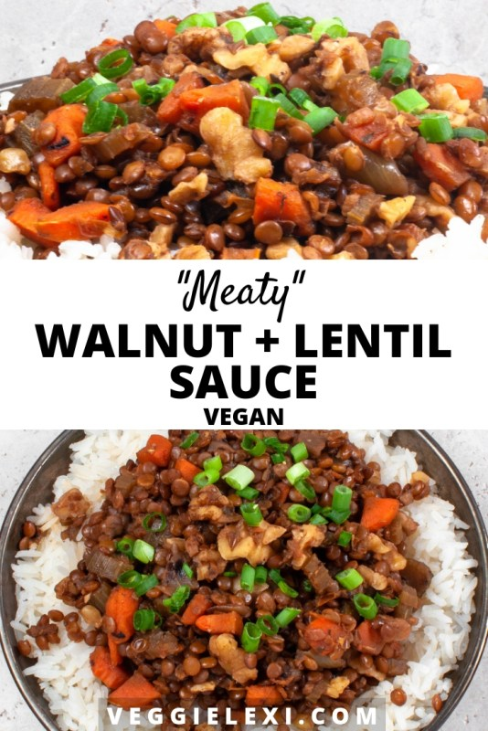 "Try topping your pasta or rice with this delicious vegan ""meaty"" walnut and lentil sauce! The inspiration was a vegan version of a ""meaty"" tomato pasta sauce, but without the tomatoes. For flavor I included carrots, celery, and onions - it turned out so delicious! - by Veggie Lexi"