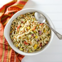 Veggie Pasta Salad with Avocado Mustard Dressing