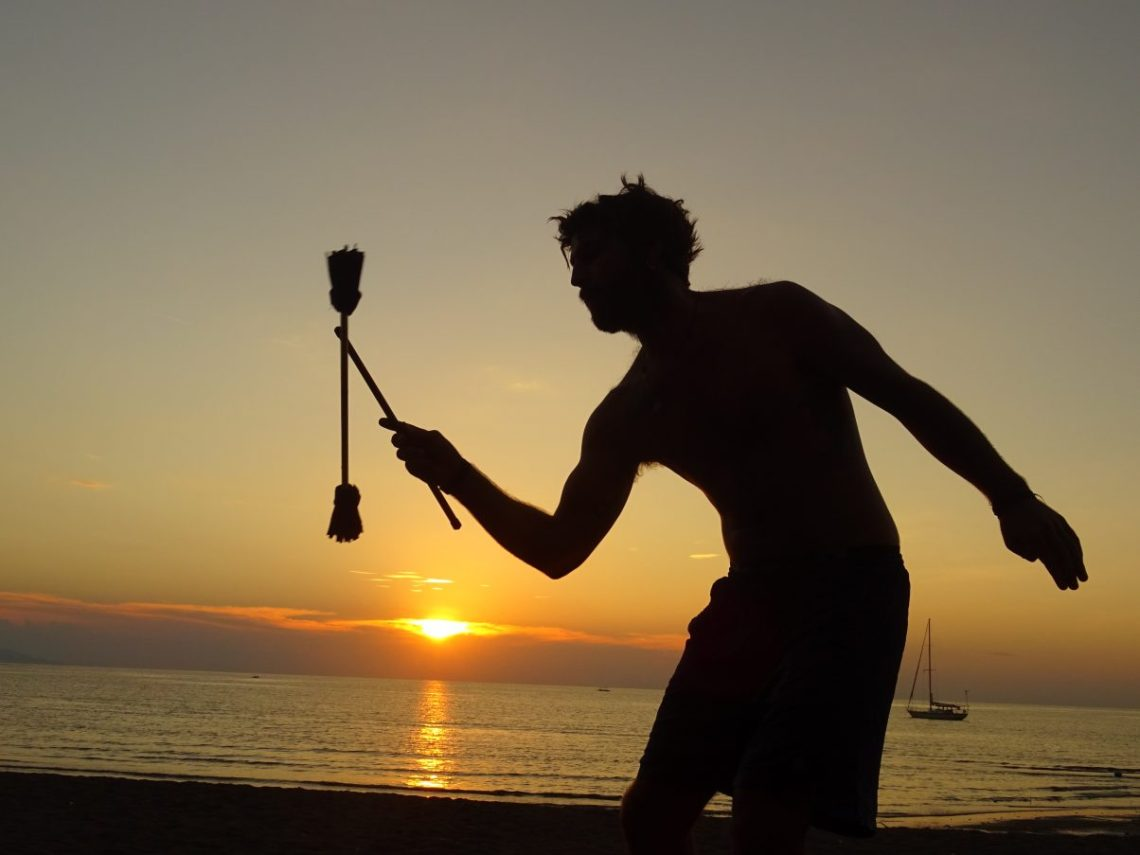 Fire Juggling, Drink Serving and Money Making in Melaka, Malaysia