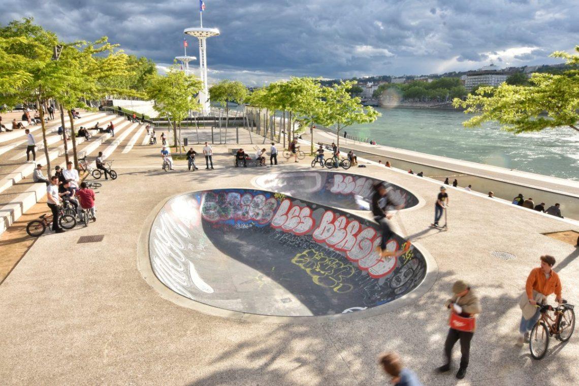 Skatepark in Lyon next to River