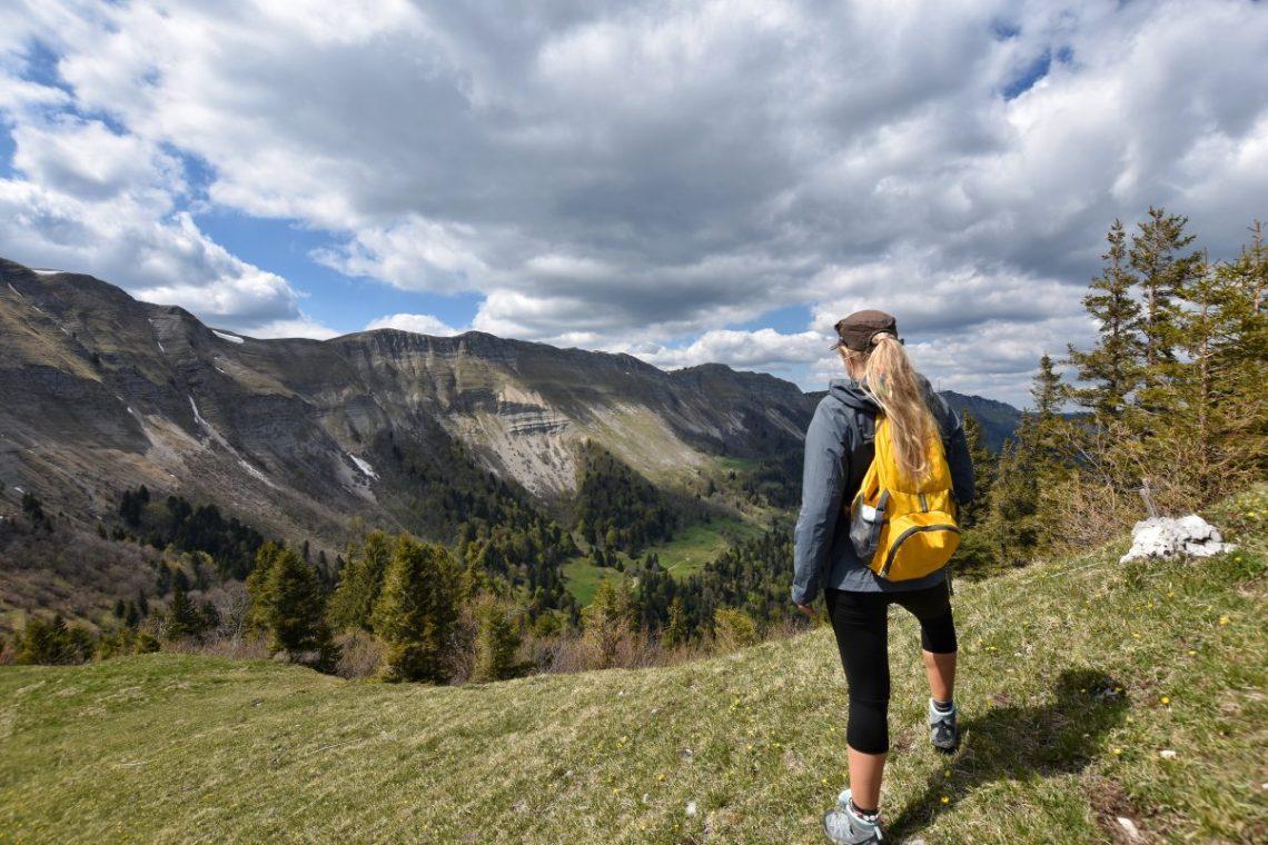 Girl hiking in Jura mountains France