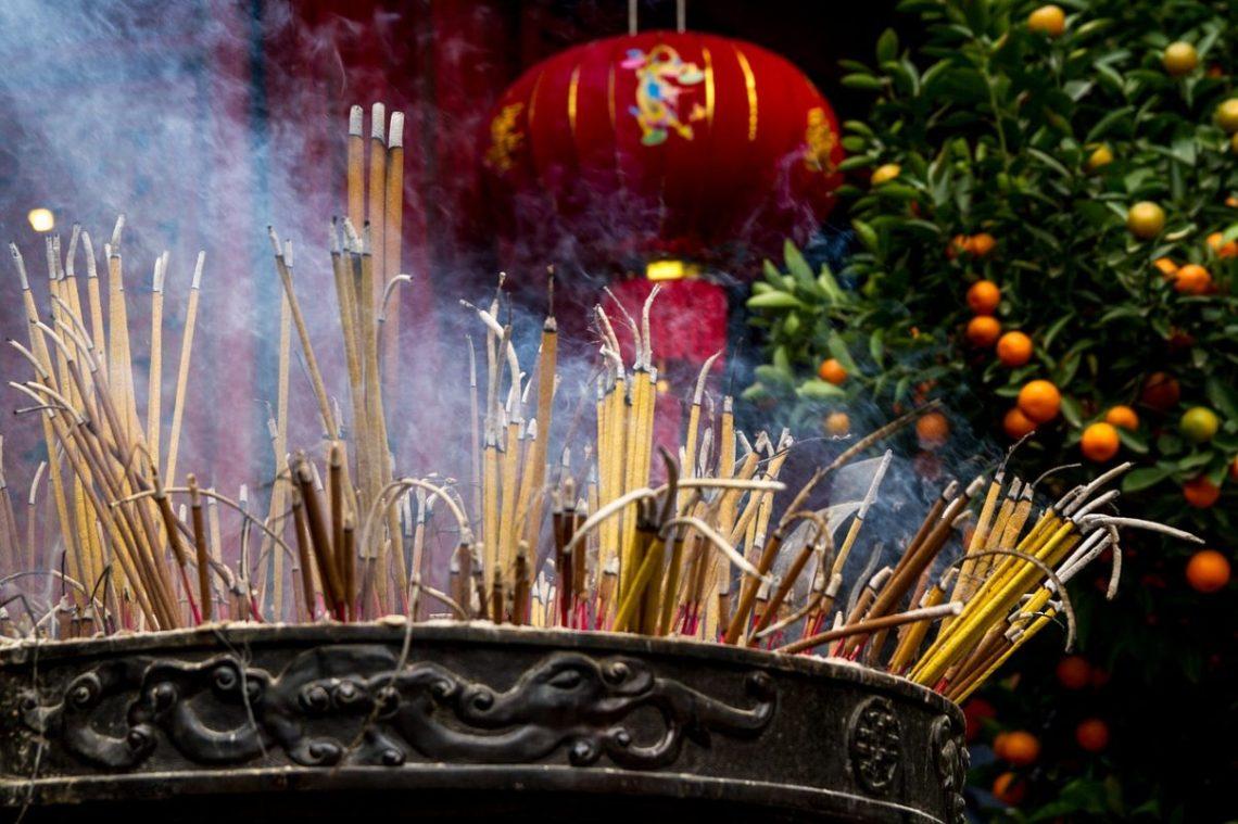 Incense in vietnam buddhist temple