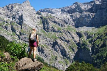 Girl overlooking Alps Valley