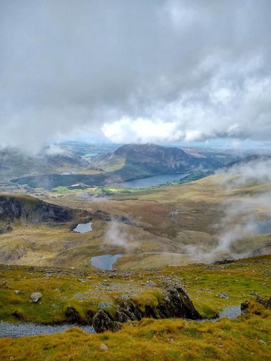 views from the peak of Snowdon via the Pyg Track