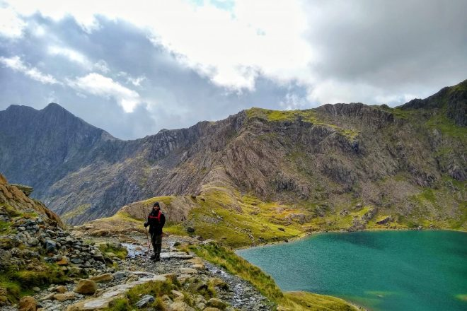 Man hiking the Pyg track Snowdon