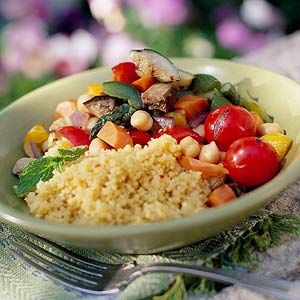 Cous-cous with vegetables and tabouleh salad