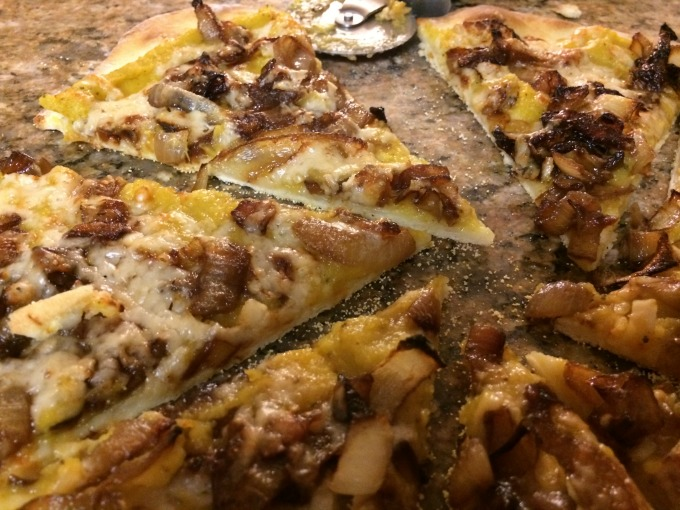 Pizza with Caramelized Onion and Winter Squash Sauce