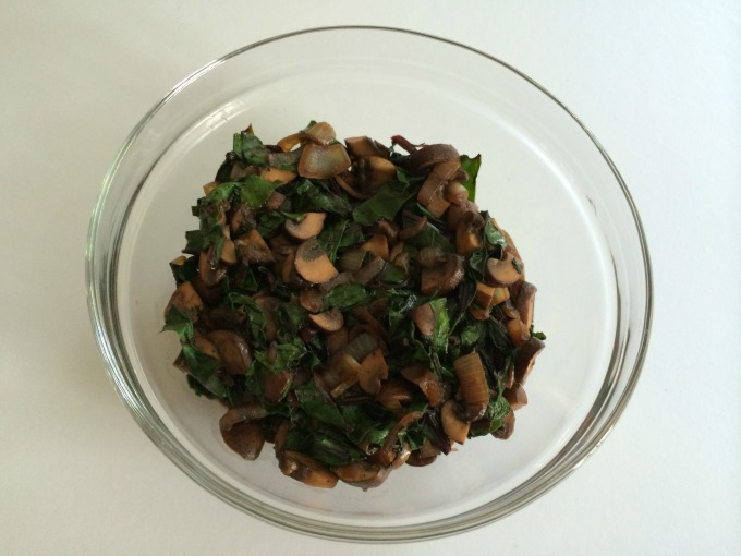 Mushrooms, Onions and Beet Greens