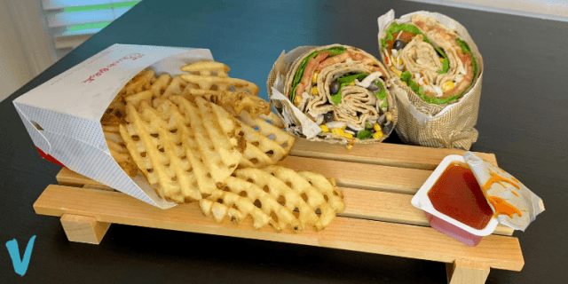 Chick Fil A Wrap and Fries
