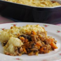 Mushroom and Lentil Cottage Pie with a Root Vegetable Topping