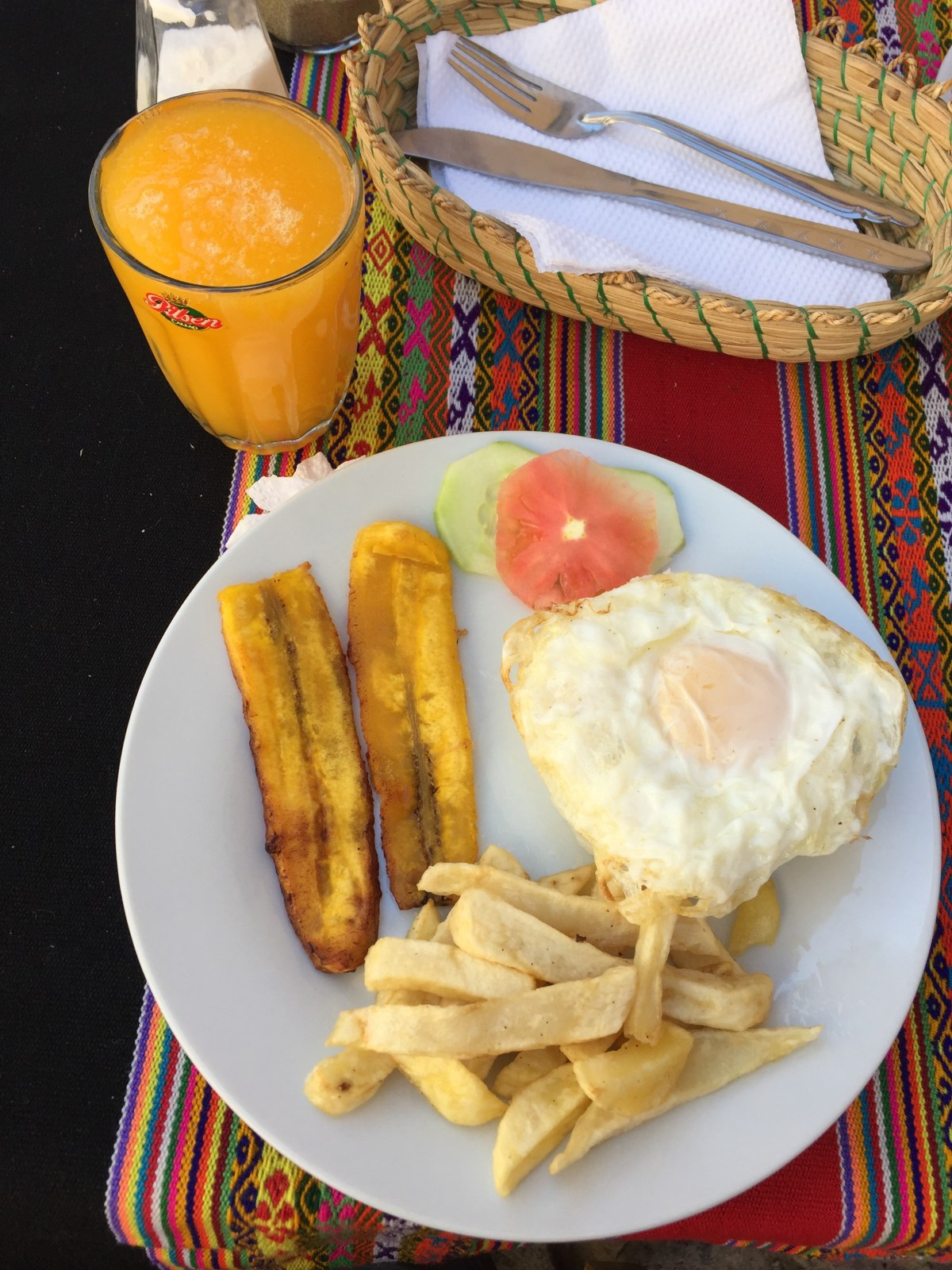 Cuban rice w/ egg and banana @ Ollantaytambo, Peru