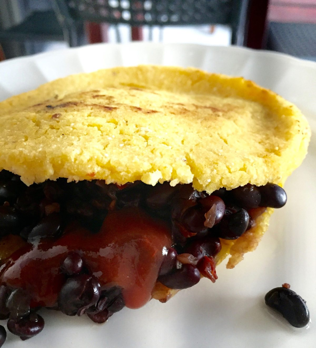 Vegan arepa de frijoles @ Old city, Cartagena, Colombia