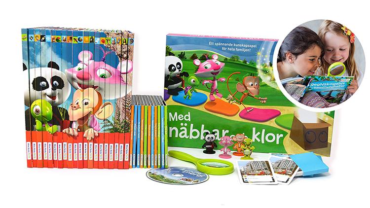 Böcker med färglada illustrerade djur på
