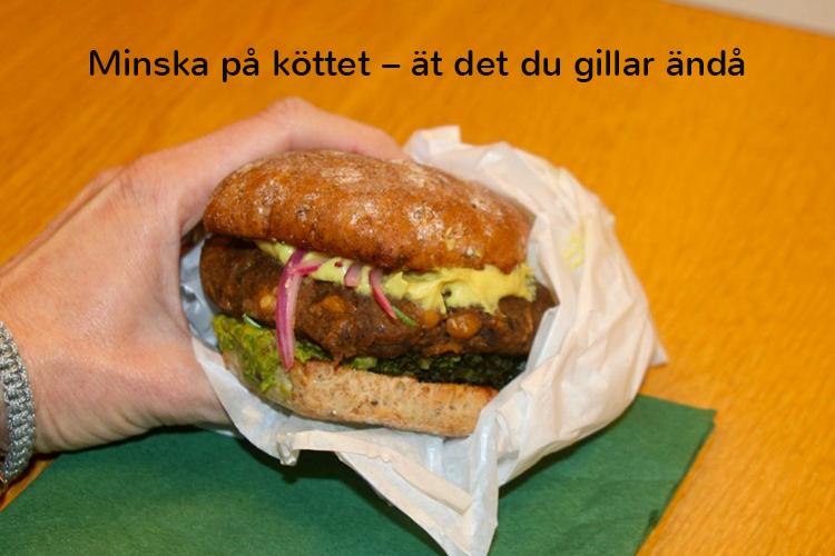 """Hamburgare med bröd och ost, ovanför texten """"Minska på köttet – ät det du gillar ändå"""""""