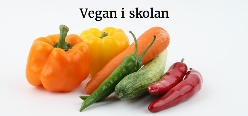 """Grönsaker med texten """"Vegan i skolan"""" ovanför"""
